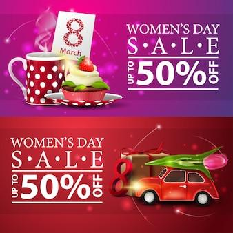 Banery zniżki na dzień kobiet