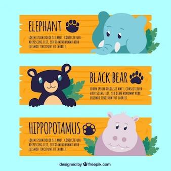 Banery zoo z uroczych zwierząt
