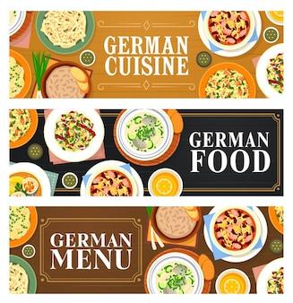 Banery żywności kuchni niemieckiej