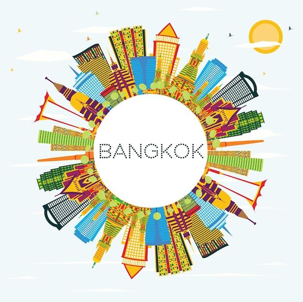 Bangkok tajlandia skyline z kolorowymi zabytkami, błękitne niebo i miejsca kopiowania. ilustracja wektorowa. koncepcja podróży służbowych i turystyki. gród bangkok z zabytkami.