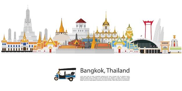 Bangkok w tajlandia i punktach zwrotnych i podróży miejscu