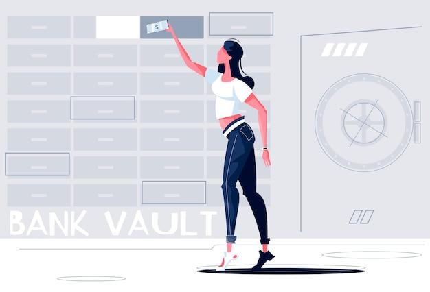 Bank bezpieczna ilustracja ze skarbcem i kobiecą postacią umieszczającą pieniądze w pudełku
