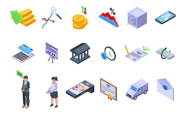 Bank rezerwuje ikony zestaw izometryczny wektor. sprawdź złote pieniądze. skarbonka księgowa