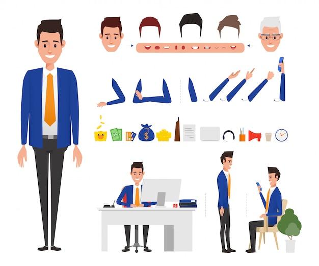 Bank staff manager postać w zadaniu biura bankowego.