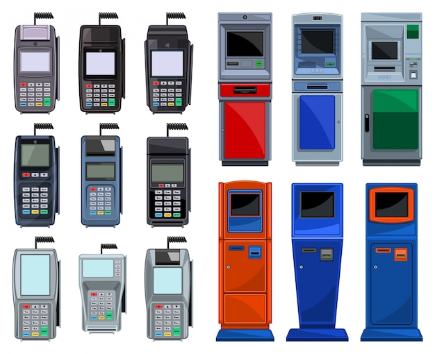 Bank terminal ilustracja na białym tle. kreskówka zestaw ikon atm. kreskówka zestaw ikon terminal bankowy.