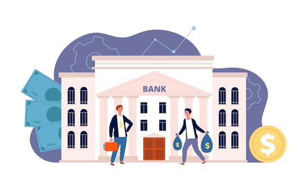 Bank z postaciami. budowanie finansów biznesowych i ludzie inwestujący swój płaski obraz fasady banku pieniędzy. bank biznesowy, ludzie ilustracja finansowania inwestycji