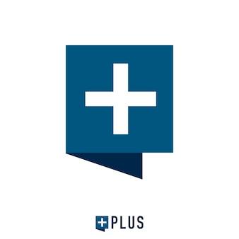 Bańka kwadratowa i znak plus logo koncepcja