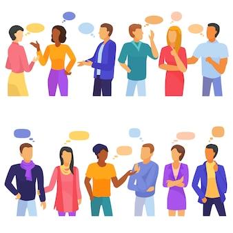 Bańka ludzie wektor propagacji mowy komunikacji i grupa dyskusja przyjaciół kobieta mężczyzna kobieta