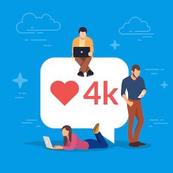 Bańka mediów społecznych z czerwonym sercem symbol. młodzi ludzie używający gadżetów mobilnych do tworzenia sieci oraz zbierania polubień i komentarzy. laptop, tablet pc i smartfon.
