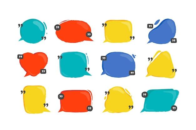 Bańka notowań. kolorowe bąbelki dla tekstu i okien dialogowych, ramki cytatów z cytatami, pole tekstowe i baner komentarzy