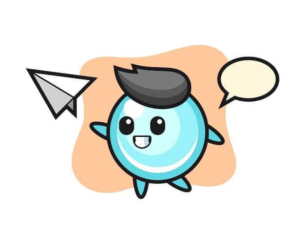 Bańka postać z kreskówki rzuca papierowy samolot, ładny styl