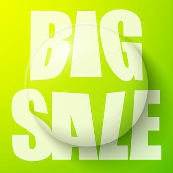 Bańka z dużym tekstem sprzedaży, baner sprzedaży