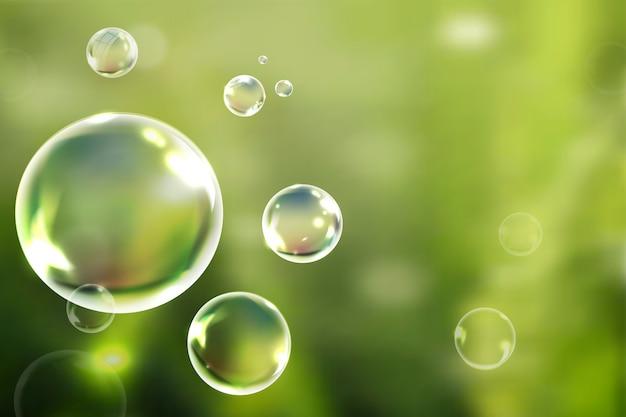 Bańki mydlane unoszące się w zielonym tle wektora