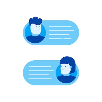Bańki na czacie, człowiek rozmawia przez telefon z kobietą. ilustracja nowoczesny styl mieszkania