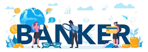 Bankier koncepcja nagłówka typograficznego. idea dochodu finansowego, pieniędzy