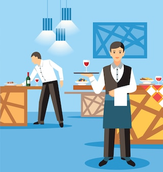 Bankiet catering usługi płaskie wektor ilustracja
