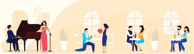 Bankiet w restauracji, impreza, pary ludzi mężczyzna i kobieta siedzi przy stołach i gra na pianinie, piosenkarka ilustracja kreskówka.