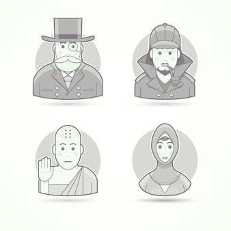 Bankir, worek pieniędzy, detektyw sherlock holmes, mnich buddyjski, islamska kobieta. zestaw ilustracji postaci, awatarów i osób. czarno-biały styl konturowy.