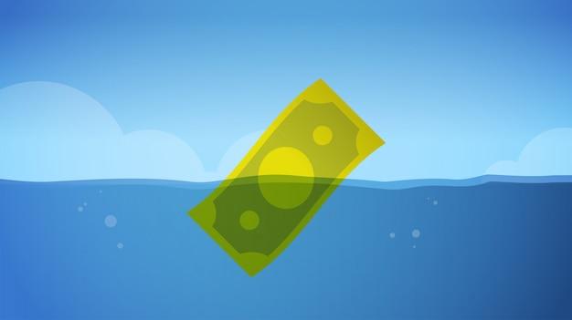 Banknot dolarowy tonie w wodzie globalny kryzys gospodarczy kryzys finansowy symbol niepowodzenia biznesowego upadłości pojęcie poziome