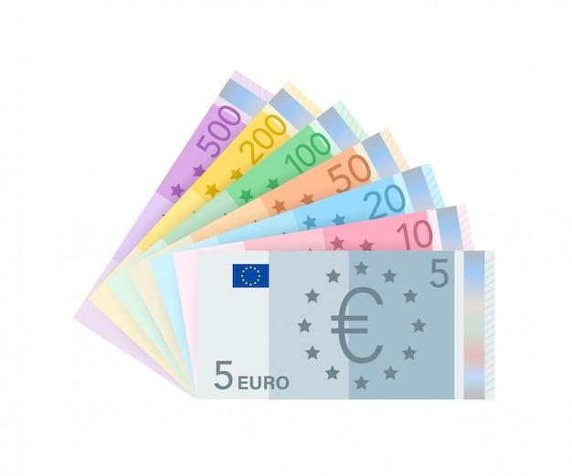 Banknoty pieniędzy euro. płaskie euro za papierowe pieniądze. pomysł na biznes. ilustracji.