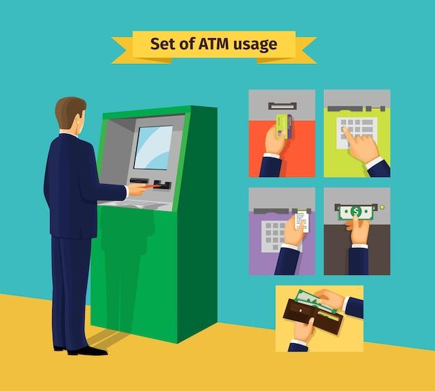 Bankomat. płatności i otrzymywanie pieniędzy. ilustracji wektorowych