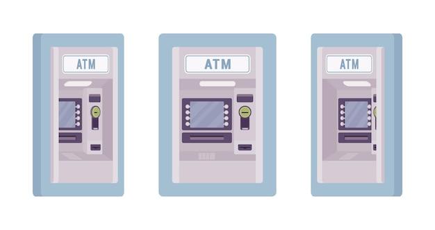 Bankomat wbudowany w ścianę w kolorze niebieskim ilustracji