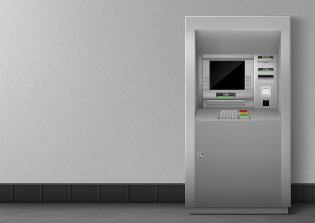 Bankomat z pustym czarnym wyświetlaczem