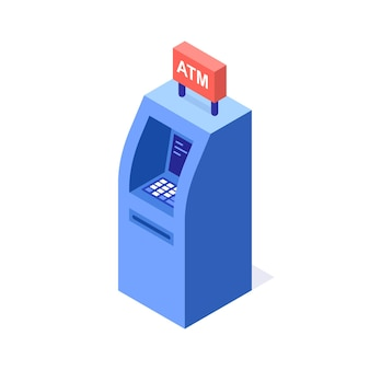 Bankomaty, bankomat. ilustracja wektorowa izometryczny.
