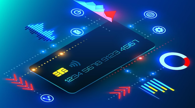 Bankowa karta kredytowa z elementami infografiki futurystyczna analityka bankowości internetowej w stylu cyber
