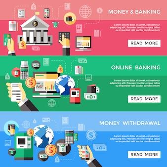 Bankowe usługi elektroniczne poziome banery zestaw