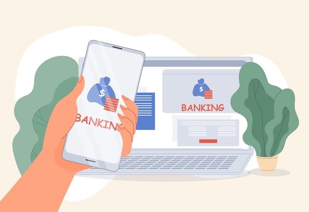 Bankowość internetowa aplikacja mobilna e-portfel serwis komputerowy. oszczędności finansowe, zdobywanie miejsca na dane, płatności online, przelewy przy użyciu technologii bezprzewodowego internetu. ludzka ręka trzyma smartfon