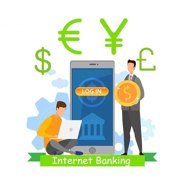 Bankowość internetowa app flat
