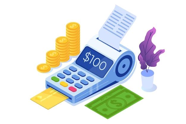 Bankowość internetowa, cyfrowe płatności mobilne, izometryczna koncepcja terminala pos.