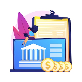 Bankowość internetowa. człowiek z monetami za pomocą postaci z kreskówki laptopa. konto bankowe, oszczędności w dochodach, płatność bezgotówkowa. freelancer z komputerem, który zarabia pieniądze