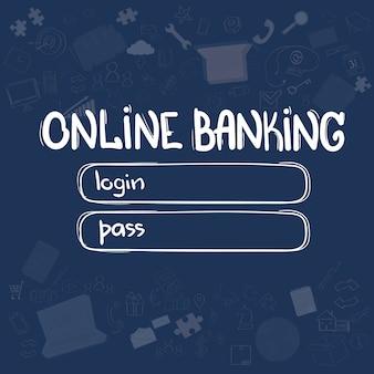 Bankowość internetowa interfejs aplikacji koncepcja doodle ręcznie narysować szkic tło