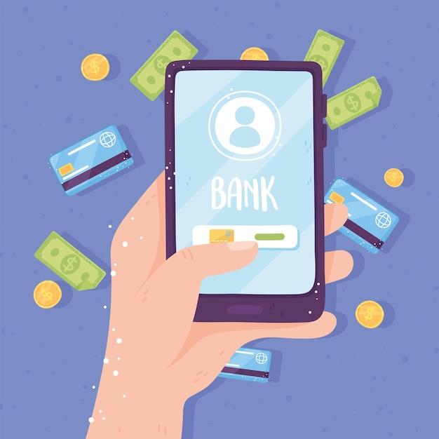 Bankowość internetowa na ekranie aplikacji na smartfony ilustracja karty bankowe monety i rachunki