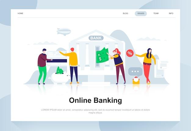 Bankowość internetowa nowoczesna koncepcja płaska.