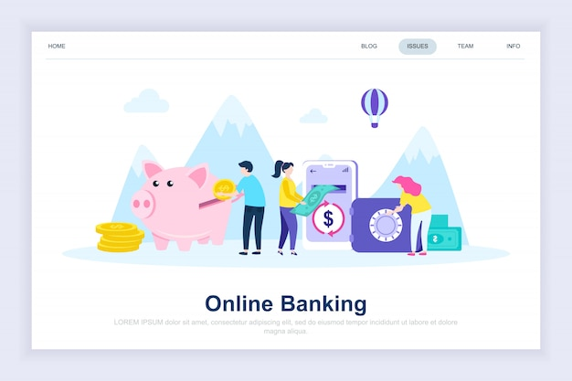 Bankowość internetowa nowoczesna, płaska strona docelowa