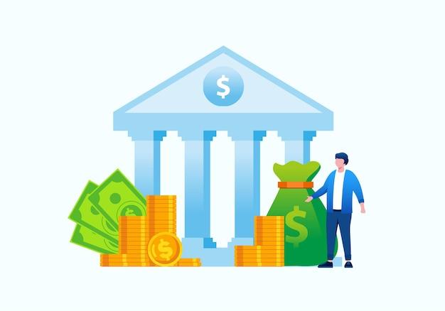 Bankowość internetowa płaska ilustracja wektorowa na baner