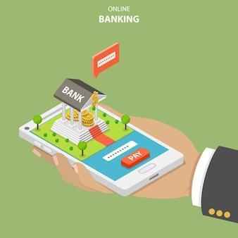 Bankowość internetowa płaska koncepcja izometryczna