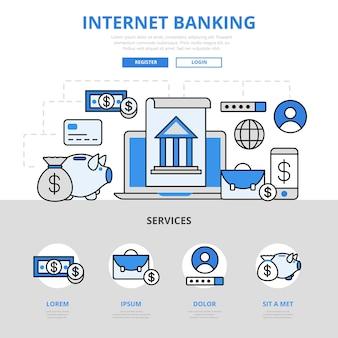 Bankowość internetowa zarządza stylem linii płaskiej koncepcji konta.
