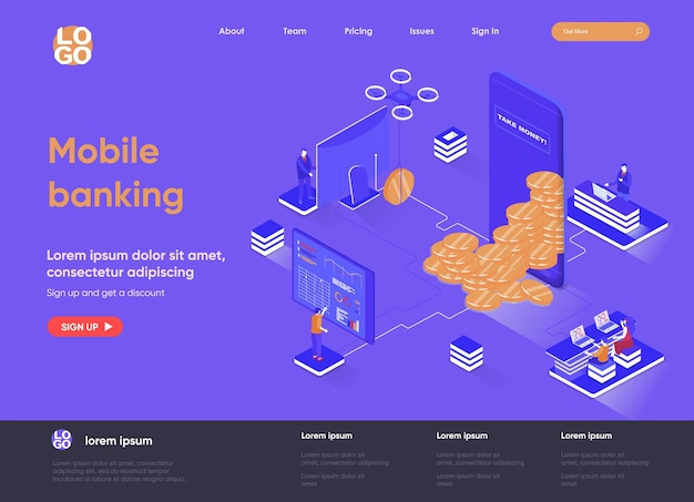 Bankowość mobilna 3d izometryczna ilustracja strony docelowej ze znakami ludzi