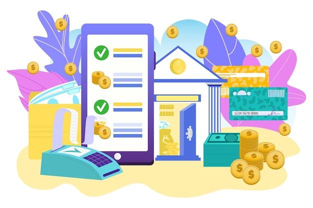 Bankowość mobilna dla pieniędzy płatności ilustracji wektorowych finanse transakcji przez telefon technologia cyfrowa...