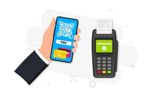 Bankowość mobilna i płatność kartą kredytową za pomocą smartfona. terminal pos potwierdza płatność. płatności nfc. skanuj, aby zapłacić. płatność za pomocą telefonu w celu zeskanowania kodu qr. płatność zbliżeniowa, technologia bezgotówkowa