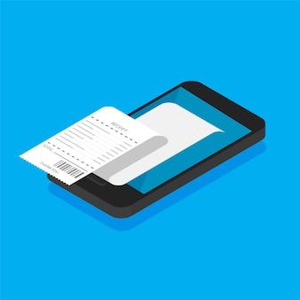 Bankowość mobilna i płatności. smartfon z paragonem i monetami w modnym stylu izometrycznym.