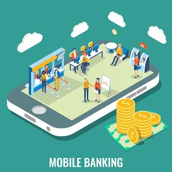 Bankowość mobilna wektorowa płaska izometryczna ilustracja