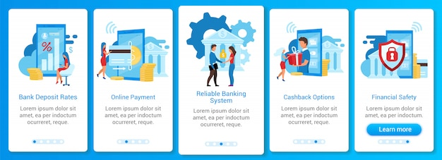 Bankowość onboarding szablon ekranu aplikacji mobilnej. stawki depozytów, płatności online, bezpieczeństwo finansowe. przewodnik po witrynie z płaskimi postaciami. koncepcja interfejsu kreskówki smartfona ux, ui, gui