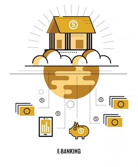 Bankowość online. na świecie connect. płaskich cienkich elementów konstrukcyjnych. ilustracji wektorowych
