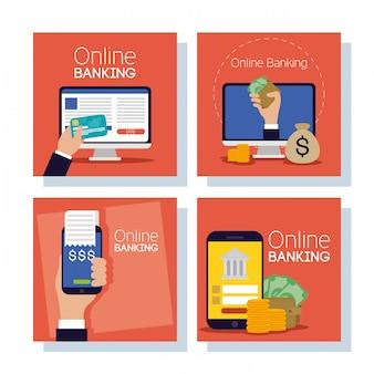 Bankowość technologii online za pomocą urządzeń elektronicznych