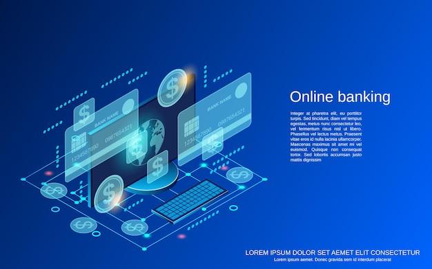 Bankowości online płaskie 3d izometryczny ilustracja koncepcja wektorowa